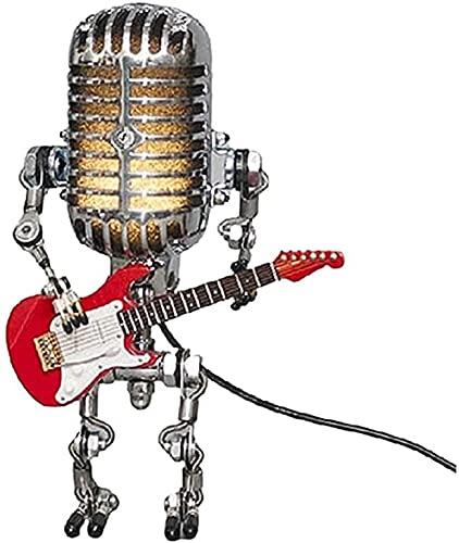 Lámpara de robot de micrófono, luz de noche de roca vintage ,USB Adorno de carga Craft Craft Guitar Lámpara Robot, Lámparas Retro Lámparas Robot de India Lámpara Retro Fresco Lámpara de mesa linda