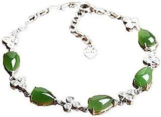 Ladies necklace Xinjiang Hetian jade bracelet natural treasures jade female 925 sterling silver bracelet Hoisting
