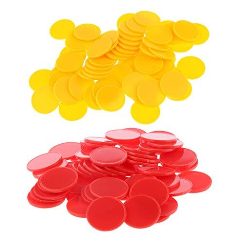 TX GIRL 200PCS / Set Bingo Chips Plastic Poker Chips Bingo Marker Tokens Bingo Ausstattung Brettspiel Spielzeug, Rot, Gelb (Size : 25 x 2mm/0.98 x 0.07inch)