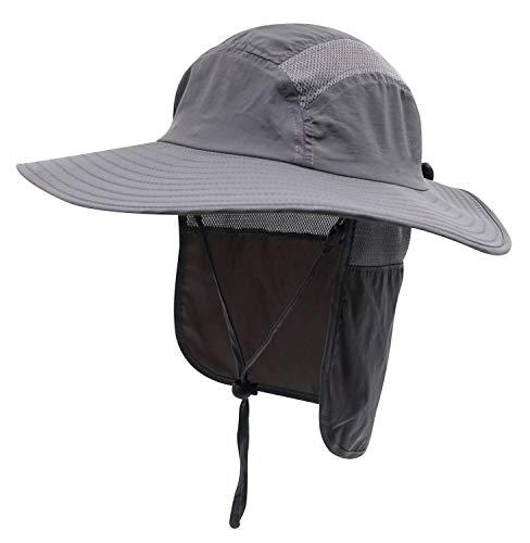 Decentron Erwachsene Sonnenschutzkappe LSF 50+ mit breiter Krempe Angelhut mit Nackenklappe Gr. 58, dunkelgrau