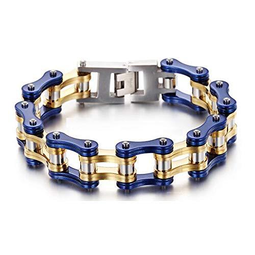 Nobrand Punk Cool Blue Bike Bracelet Jewelry Hombres Oro Titanio Acero Inoxidable...