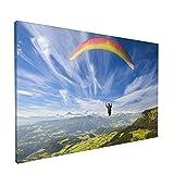PATINISA Parapente volando sobre las montañas en el día de verano Painting Cuadro sobre Lienzo Canvas Wall Art para Colgar Impresión de la Lona 45x30cm