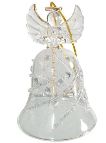 MaMeMi glazen bel engel met ster helder, zilver versierd geschenk * 9 cm