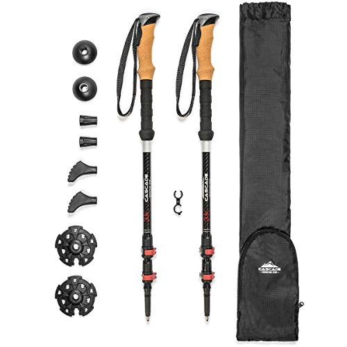 Cascade Mountain Tech 3K Carbon Fiber Adjustable Trekking Poles - Ultralight Lightweight Quick Lock Walking or Hiking Stick - 1 Set (2 Poles)