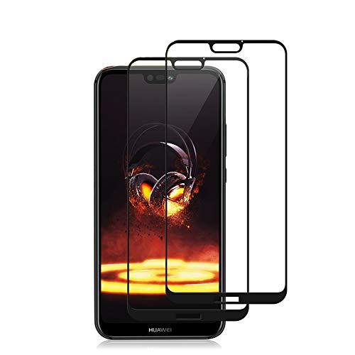 Huawei P20 lite Vetro Temperato Pellicola Protettiva [2 Pezzi] [Durezza 9H] [Senza Bolle] [Trasparente HD] [Facile Installazione] Protezione Schermo per Huawei P20 lite (Nero)