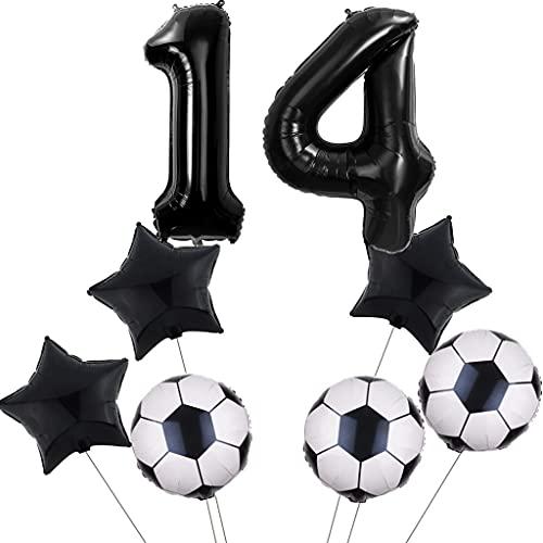 Juego de globos de fútbol para 14 cumpleaños, decoración para fiestas de fútbol, color negro, número 14, globos de color negro
