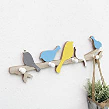 Home Interior Decor Bird Wood Coat Hook Rail Clothes Hanger Children Bedroom Living Room Wall Door Hanging Decorations (Co...
