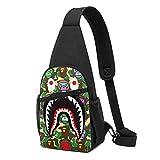 Sling Backpack Ba-pe Camo Shark Crossbody Shoulder Bag Chest Daypack For Gym Travel Hiking