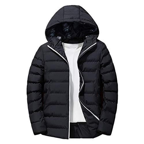 Winterjas voor heren, ski-jack voor heren, gewatteerd, licht, gevoerd, warm, waterdicht - zwart - XXXXX-Large
