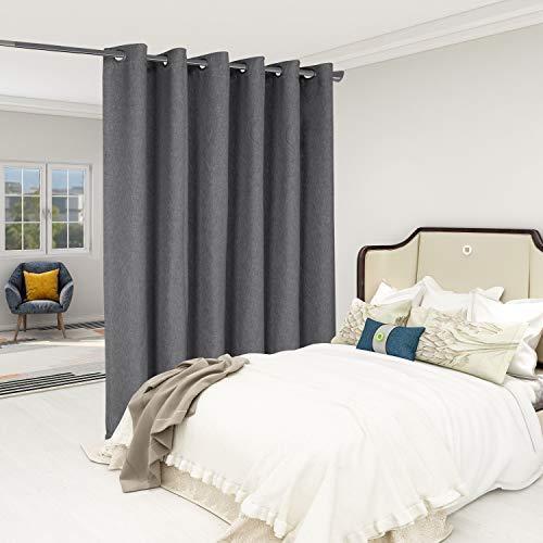 LORDTEX Burlap Linen Look Textured Room Divider Curtains - Privacy Heavy Thick Wide Grommet Window Curtains for Bedroom Living Room Patio Sliding Door, 8.3ft Wide x 7ft Tall, Charcoal, 1 Panel