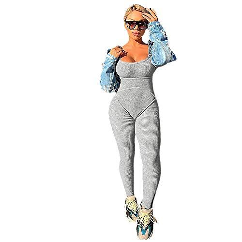 Leggings Push Up Mujer Mallas Pantalones,Mujer Compression Leggings Cintura Alta,Mono Sexy con Espalda Abierta, Pantalones de Yoga de Cadera-Gris_S