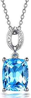 Dgxd European And American Natural Topaz Pendant Carat Plated 18k Gold Imitation Diamond Necklace With Colorful Gemstone F...