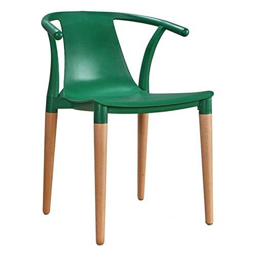 HELIn Moderne minimalistische kunststof massief hout fauteuil eetkamerstoel Chinese klassieke vrije tijd stoel bureaustoel balkon stoel computer stoel Groen