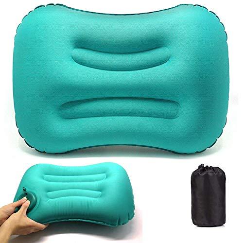 VICKSONGS Cuscino da Gonfiabile,Cuscino Gonfiabile da Campeggio, Cuscino Gonfiabile da Campeggio Impermeabile Leggero Portatile Compatto per Supporto da Collo per Campeggio Spiaggia (Blu)