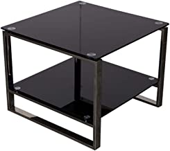 Mahmayi Carre 6538-60 Glass Coffee Table Black, Modern Coffee Table Rectangular Simple Coffee Table with Storage Shelf Liv...