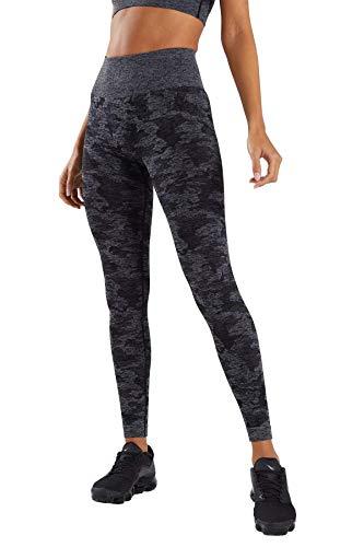 Pau1Hami1ton Talle Alto Camuflaje Sin Costura Leggins para Mujer Gimnasio Capri Mallas Pantalones de Yoga Niñas Fitness Leggings Deportivos GP-14(Black,L)