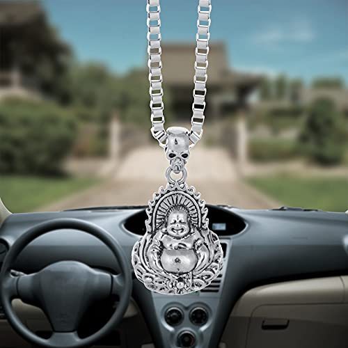 Car Pendant Laugh Buddha God Charms Alloy Rearview Mirror Decoration Hanging Automobiles Decor Ornaments Accessories Car styling Colgante Decoración de Pared Auto