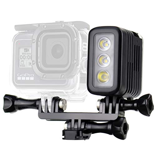 GEPULY Diving Light Multi-Purpose Dimmable Waterproof LED Video Light Fill Night Light for GoPro Hero 8/7/6/5/4/3/2/1/Session/Fusion/Max/SJCAM/DJI OSMO Action Camera - Aluminum Shell 164ft Waterproof