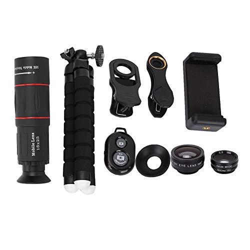 Cameratelefoonlens, 18x lens, draagbare lens, fisheye groothoek macro 4-in-1 universele lens met lange focus voor externe camera's
