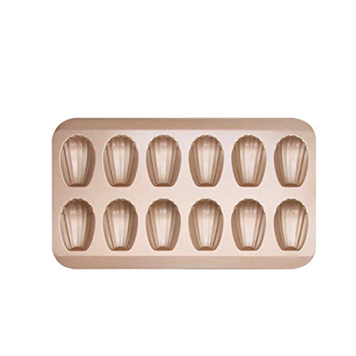Madeleine Mold Cake Pan, 12-Cavity Non-Stick Spherical Shell Madeline Bakeware for Oven Baking (Gold)