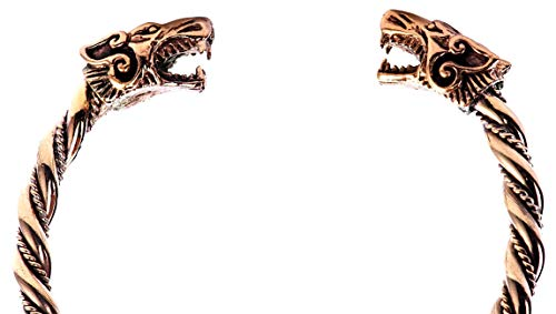 WINDALF Krieger Vikings Armreif FENRAR Ø 6.5 cm Wikinger-Wölfe Odin Armschmuck Handarbeit Hochwertige Bronze