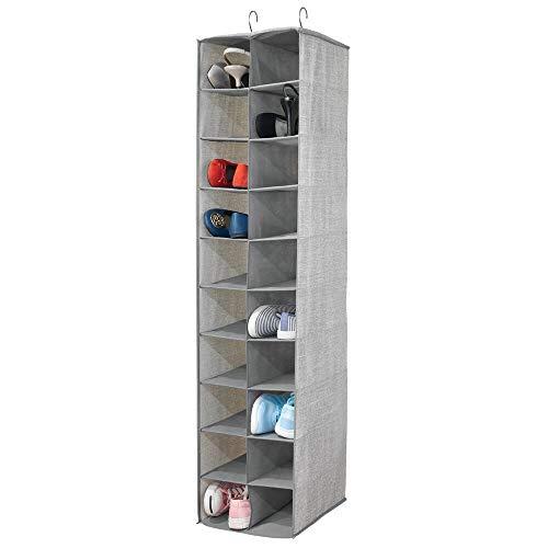 mDesign Zapatero colgante – Organizador de zapatos con 20 compartimentos y estampado con textura – Estantería de tela para carteras, bolsos o zapatos, ideal para ahorrar espacio – gris