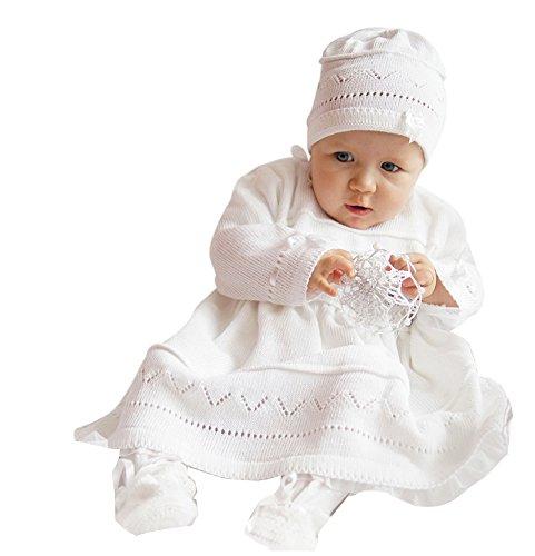 deine-Brautmode Babykleid Taufkleid Strickkleid Festkleid Mädchen Baby Taufe Kleid gestrickt, Emma 62