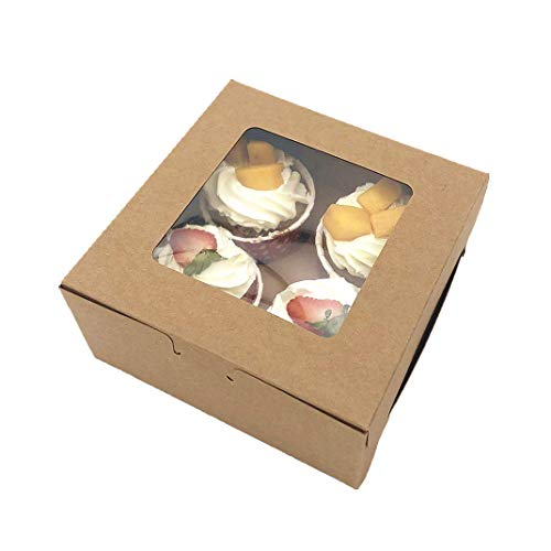 30-Set Cupcake Boxes with Inserts and Window Hold 4 Cupcakes, 6.3'' x 6.3'' x 3'', Brown Food Grade Kraft Cupcake Holder for Cookies, Muffins