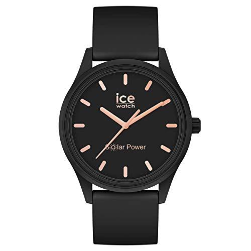 ICE-WATCH ICE Solar Power Black Rose-Gold - Reloj Negro para Mujer con Correa de Silicona, 018476 (Small)