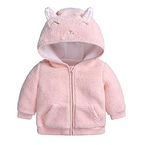FYMNSI Newborn Baby Girl Autumn Winter Fleece Jacket with Hood Zip Hooded Coat Cape Jacket Thick Warm Clothing Outerwear Wool Fleece Winter Coats 0-18 Months - Pink - 6-9 Months