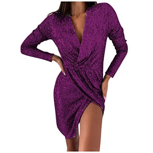 Binggong Damen Sweatshirt Vestido de Noche para Mujer, Brillante, con Cuello en V, Sexy, Vestido de cóctel, Boda, Fiesta, Vestido de Fiesta Morado XXL