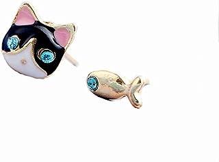 Boucles doreilles en argent sterling avec motif animal de suricate gris