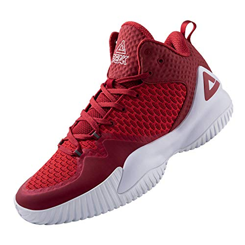 PEAK High Top Mens Basketball Shoes Lou Williams Streetball Master Breathable Non Slip Outdoor Sneakers Cushioning Workout Shoes for Fitness Scarlet