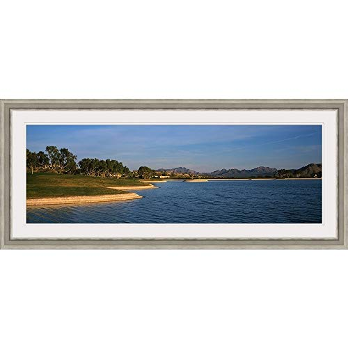 GREATBIGCANVAS Lake with Mountains in The Background, Fountain Hills, Maricopa County, Arizona, Silver Framed