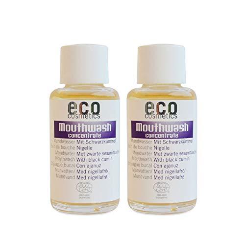 ECO COSMETICS mondwater (2 x 50 ml), milde kruidensmaak, biologisch mondwater, veganistisch, vrij van fluoride, natuurlijke cosmetica