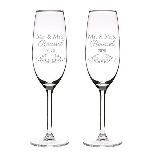 Copas de champán 2 copas, personalizadas con grabado - clásico (2)
