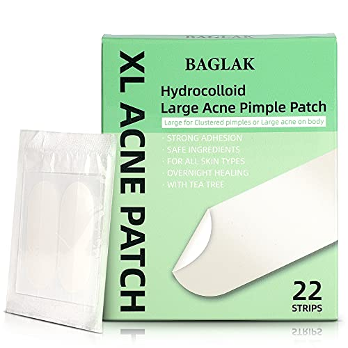 BAGLAK Hydrocolloid Large Acne Pimple Patches (22 Strips) Larger Breakouts on Cheek, Covers Blemishes - Zit Sticker Facial Skin Care