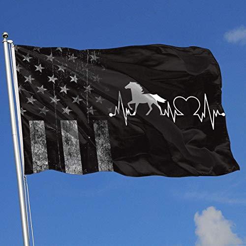 N / A Werbeflagge,Decorative Garden Flags,Yard Flagge Banner,Piraten Flagge,Outdoor Artificial Flag,Abgenutzte Amerikanische Flagge Pferd Herzschlag 1 3X5 Ft Flagge