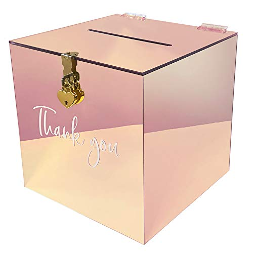 Acryl Geschenk Karten Box für Hochzeit | Wishing Well Wedding Card Box | Geldbox mit Herz Schloss | Briefbox für Gast Geschenke, Danke Karten, Glückwünsche | Deko Briefkasten (Rosegold)