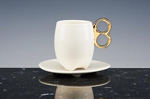 Mug énergétique (petit) Espresso Porcelaine émaillée blanche avec Queue en or 18 carati. Lot de 2 tasses avec PIATTO. fait à la main tasses design !