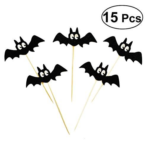 BESTOYARD Kuchen Topper Halloween Fledermaus Form Tortentopper Kuchendekoration 15 Stück (Schwarz)