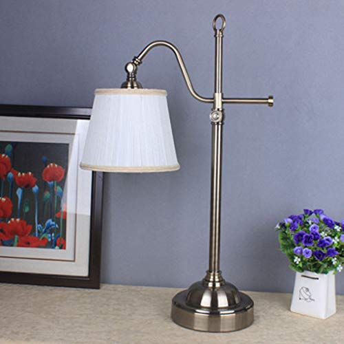 Tafellamp van metaal, gebogen haak van brons, lampenkap van hoge kwaliteit, tafellamp van brons gegalvaniseerd