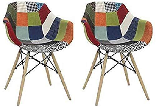 Fashion Commerce 02-FC918 Set di 2 poltroncine con braccioli in Tessuto Patchwork, Multicolore, 2 Sedie, 2 unità