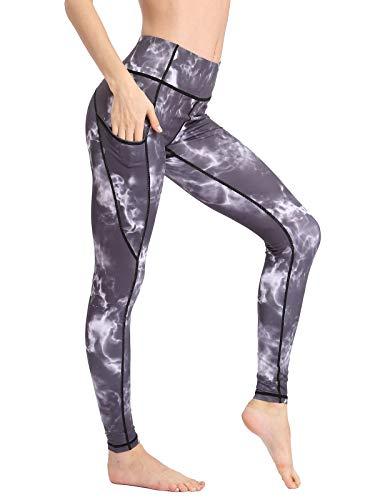FLYILY Pantalones deportivos de cintura alta para mujer para correr yoga y ejercicio Leggings de color sólido con Tasche