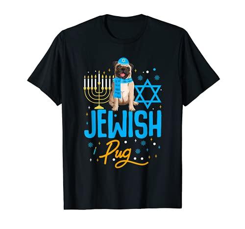 Hanukkah Pug Diseño Para Perro Judío Pug Camiseta