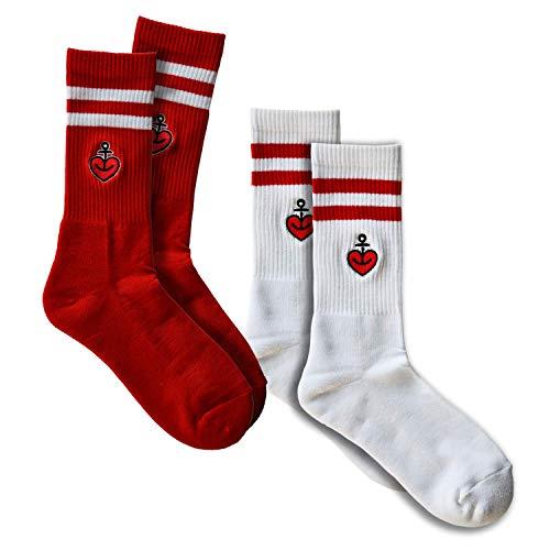 ASTRA Bier Sportsocken, Freizeitsocken, Tennissocken 2er Pack Rot/Weiß mit gesticktem 3-farbigem Herzanker-Logo, für Frauen und Männer, (39-42)