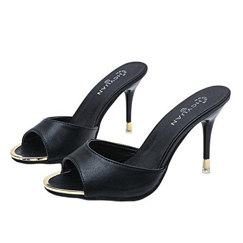 Sfit Damen Sommer Sandalen Hausschuhe mit Absatz Sommerschuhe Offene High Heels Dianetten Hochhackige Slipper