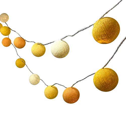LED Lichterkette Kugeln Bunt, Treer mit 8 Modi Mehrere Farbe Cotton Ball Lichterketten Innen Baumwollkugeln für Zimmer Dekorationen Weihnachten Hochzeiten Party (Gelb,5m/50LED)