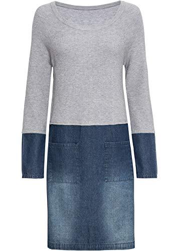 bonprix Kleid mit Strickeinsatz Blue Stone/grau meliert 36/38 für Damen