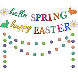 Hello Spring Happy Easter! A good decorations to celebrate Easter during Spring using our hello Spring banner by hanging it indoor or outdoor. A hit to your Easter and Spring Decorations. Customized for Easter Day and Spring day decorations and party...